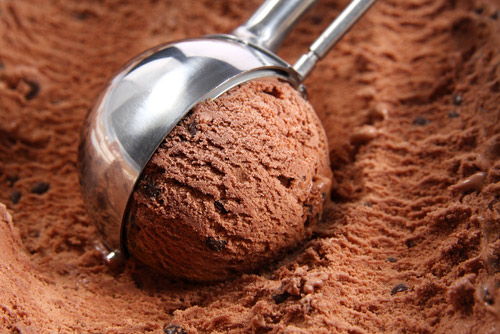 Chocolate Ice Cream Being Scooped